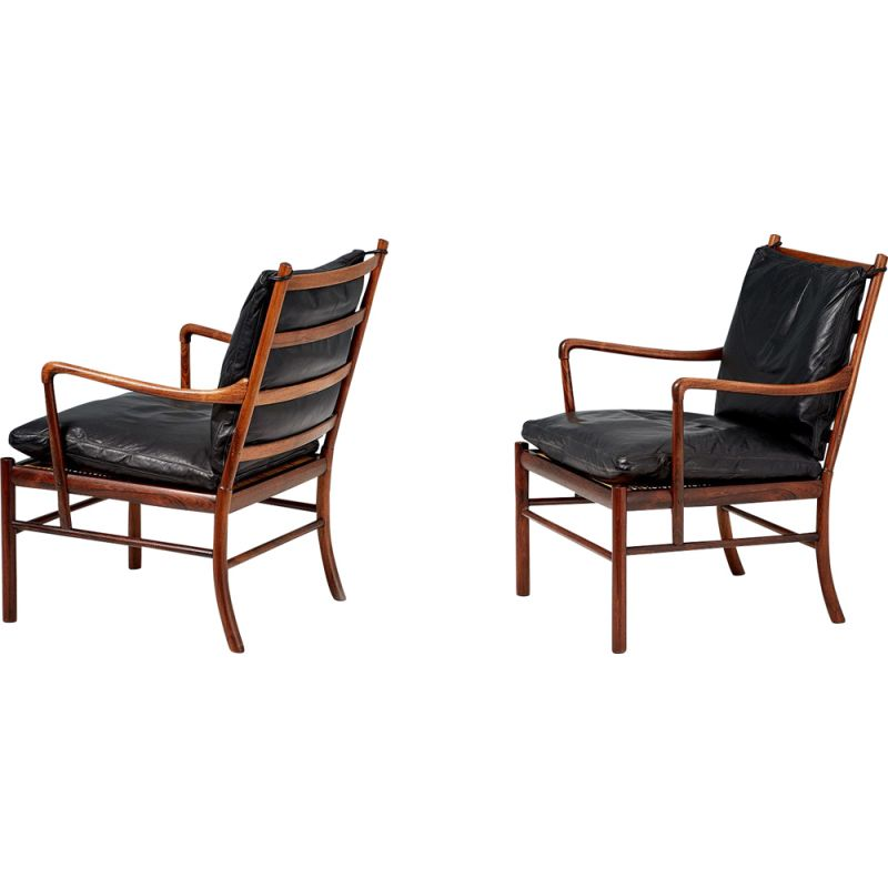 Pair of Vintage Ole Wanscher Rosewood Colonial Chairs, 1949