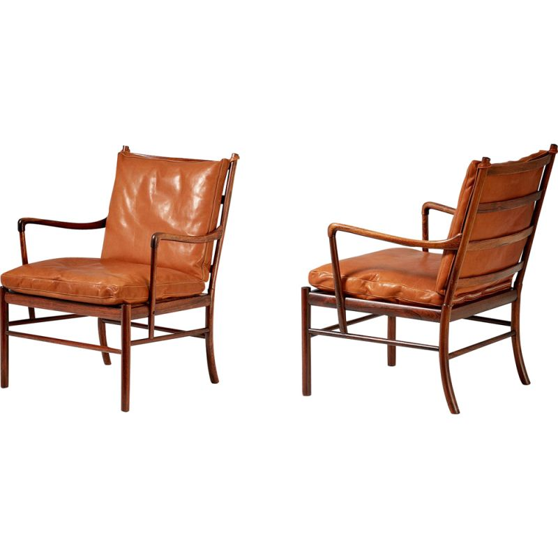 Vintage pair of Ole Wanscher rosewod colonial chairs, 1949