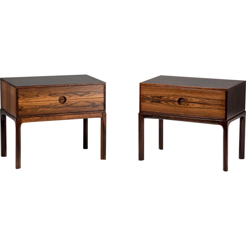 Pair of vintage bedside tables in rosewood by Kai Kristiansen, 1960