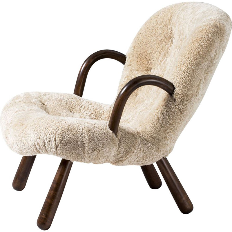 Vintage Philip Arctander sheepskin clam chair, 1944
