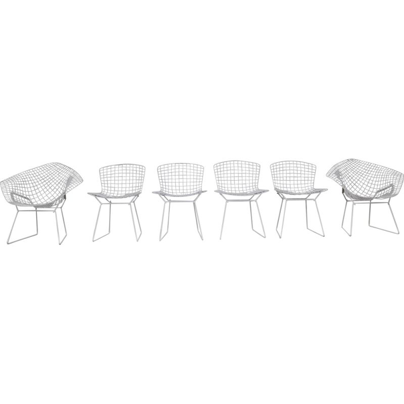 Set of 6 vintage metal side chairs by Harry Bertoia  for Knoll, 1970s