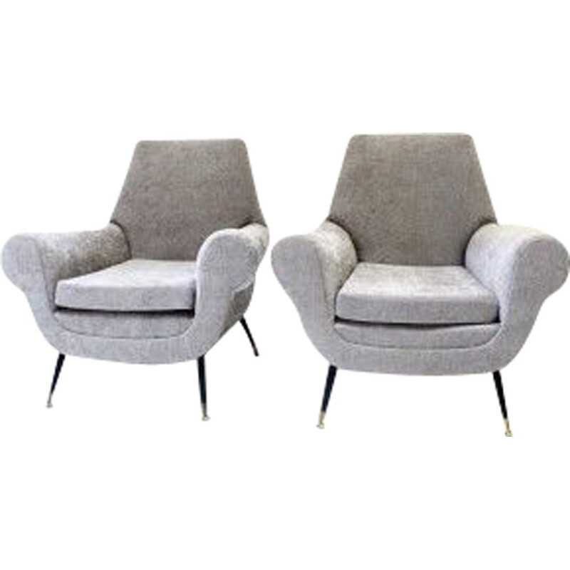 Pair of vintage light grey velvet armchairs by Gigi Radice
