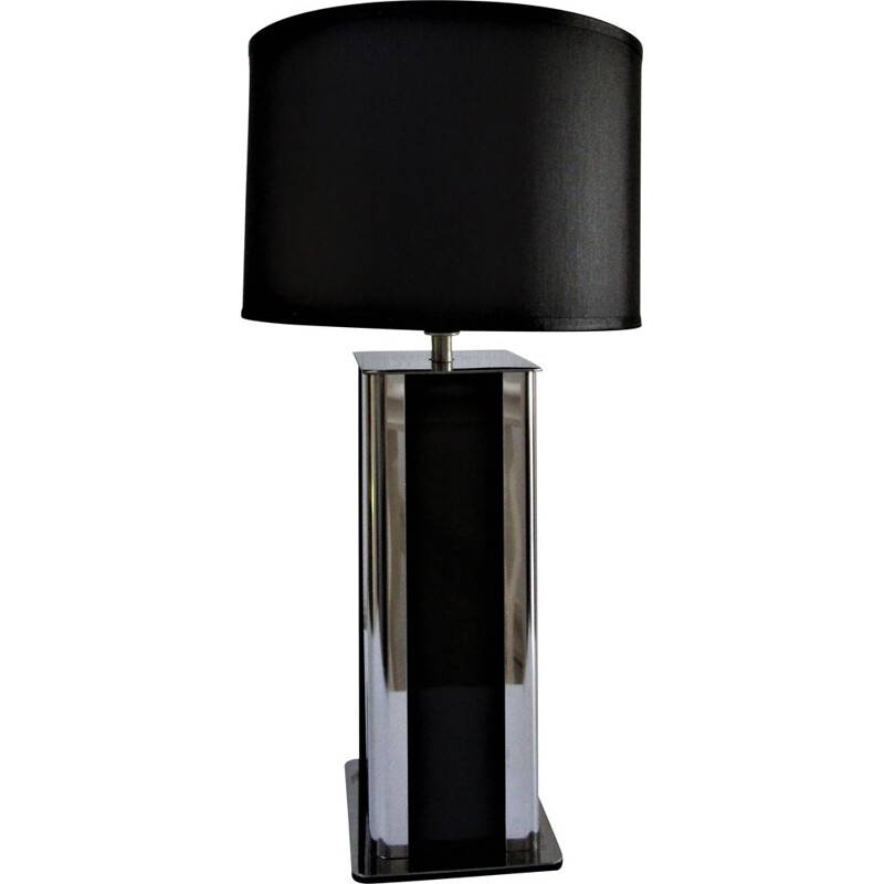 Vintage stainless steel and black plexiglass table lamp 1970