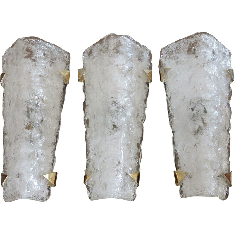 Set of 3 vintage sconces by J.T. Kalmar, Austria, 1970