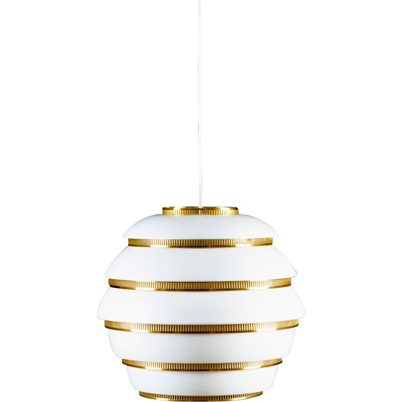 Vintage A331 white enamelled aluminium suspension by Alvar Aalto, 1965
