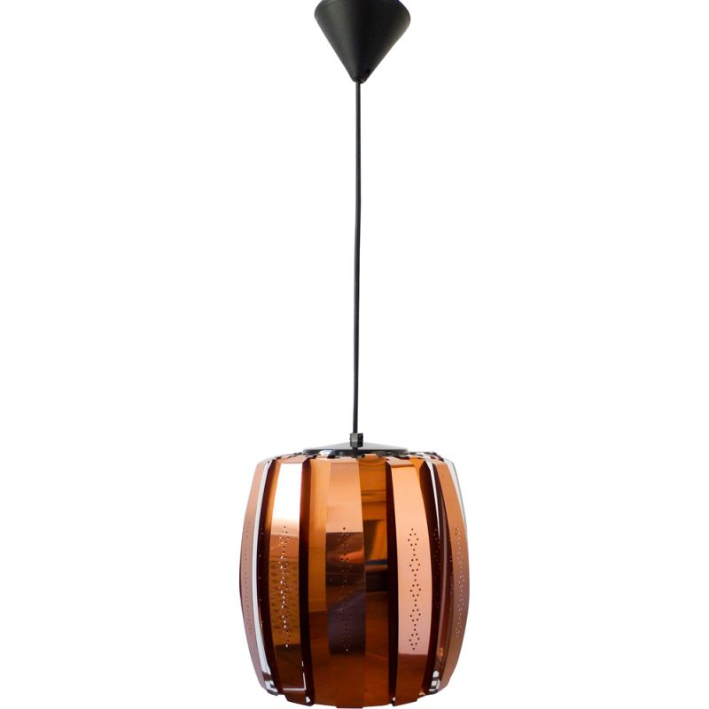 Vintage Werner Schou Copper hanging lamp for Coronell Elektro of Denmark, 1973