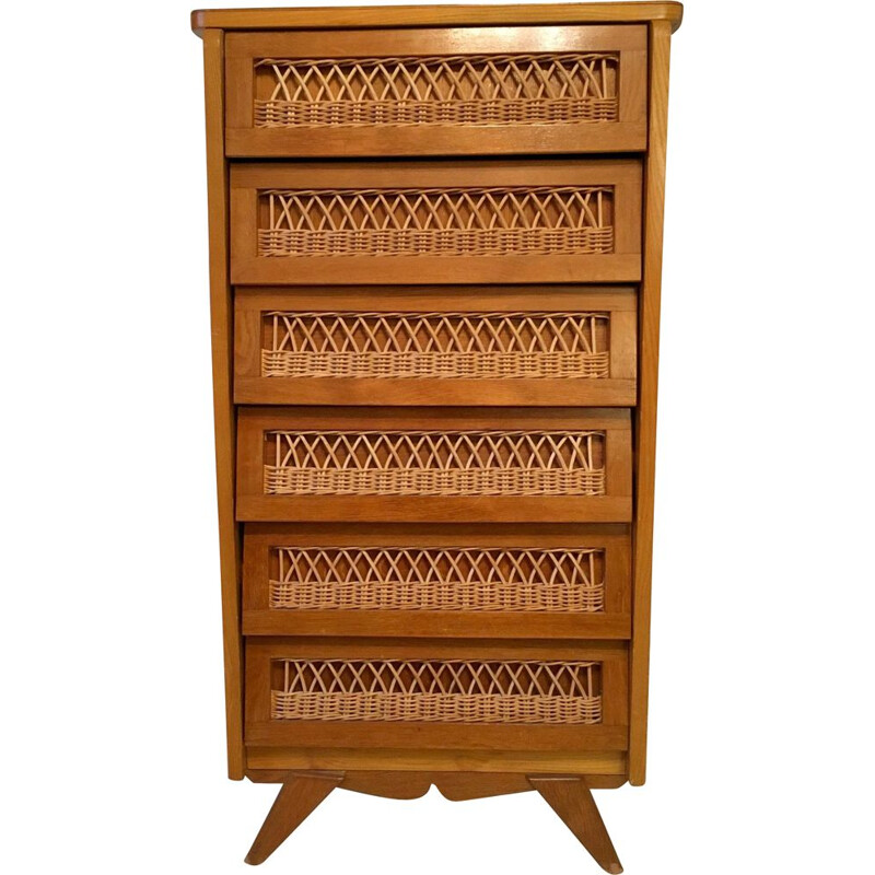 Vintage rattan chest of drawers with 6 drawers 1950