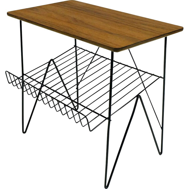 Vintage side table in metal and teak with magazine rack 1950-1960