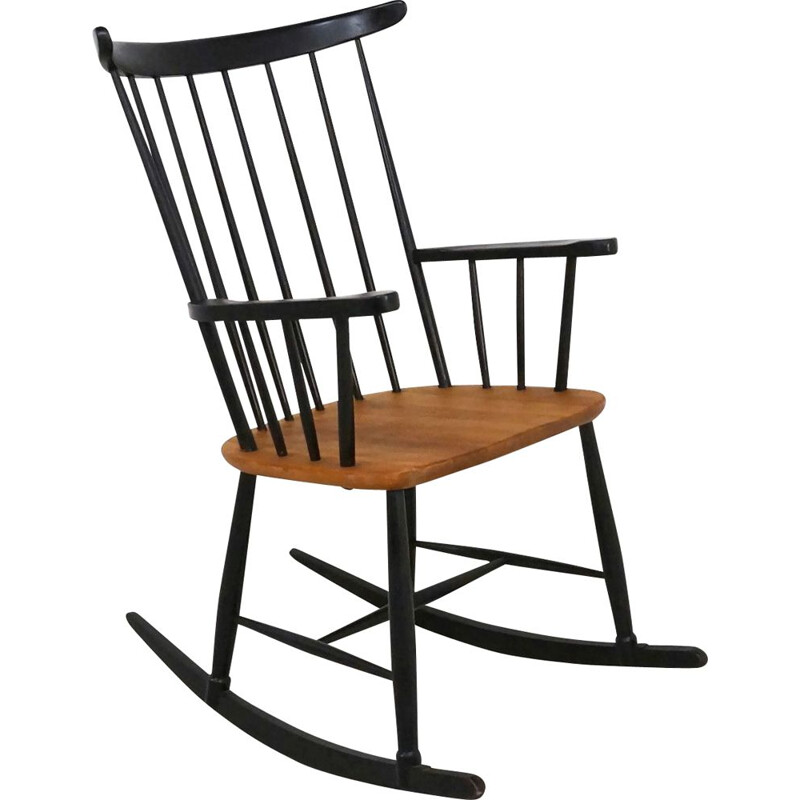 Vintage rocking chair in blac laecquered wood and teak