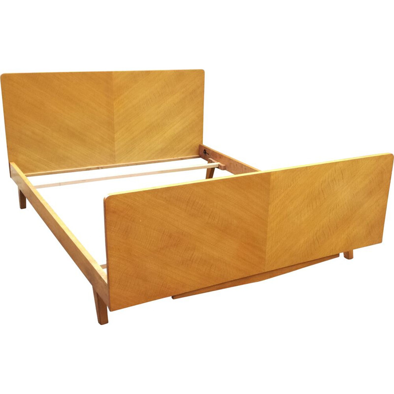 Vintage French wooden bed 1950