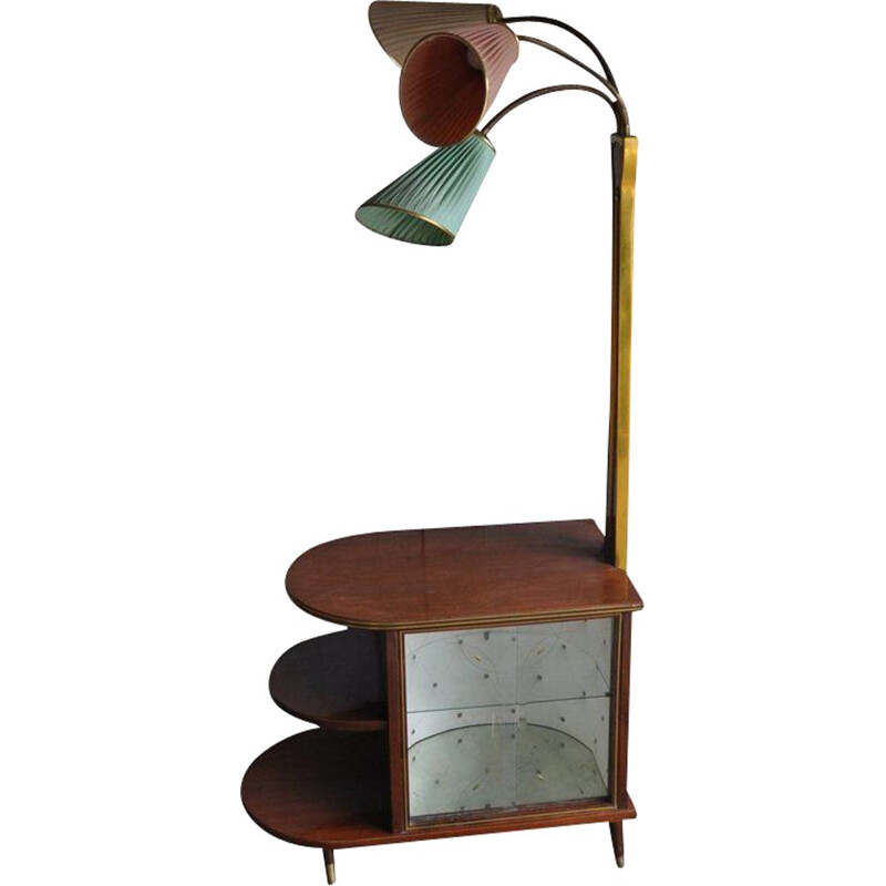 Vintage Art Deco Walnut Drinks Bar Cocktail Liquor Cabinet With Lamp Stand, 1950