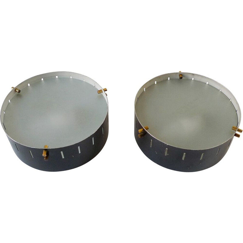 Pair of Italian Flush-Mount Wall Lights, 1950s