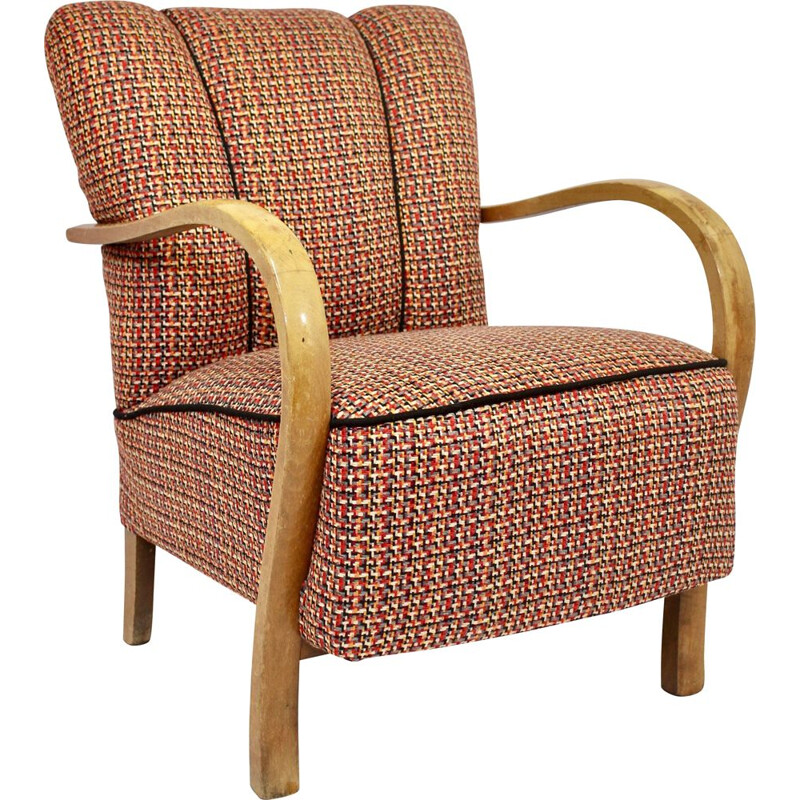 Vintage Art Deco bentwood armchair upholstered in Sonia Rykiel fabric