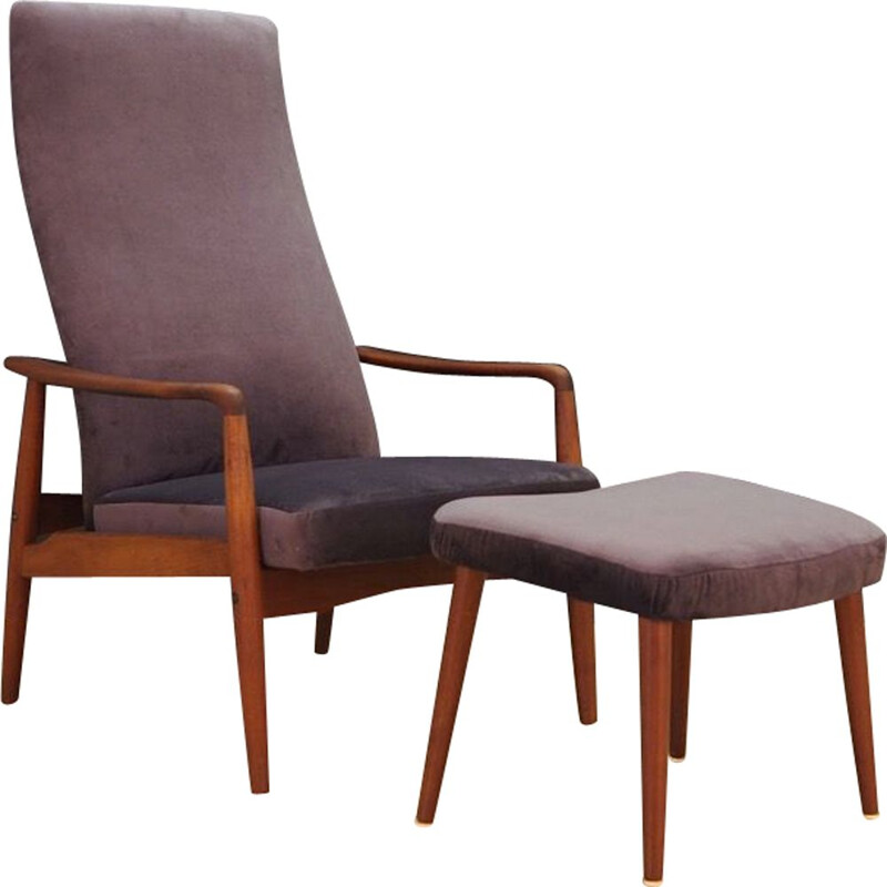 Vintage Danish armchair with stool by Soren Ladefoged for SL Mobler