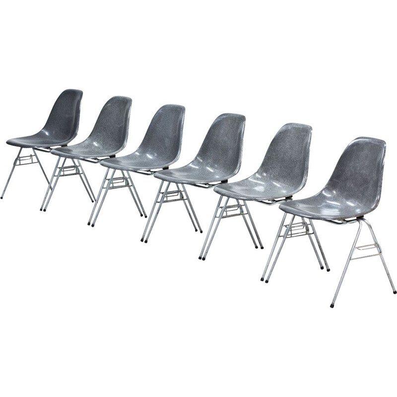 Vintage set of 6 Grey Fiberglass Model DSS Dining Chairs by Charles & Ray Eames for Hille