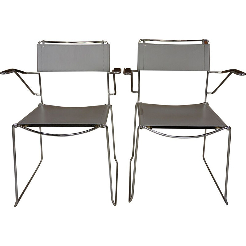 Pair of vintage Italian leather and chrome armchairs