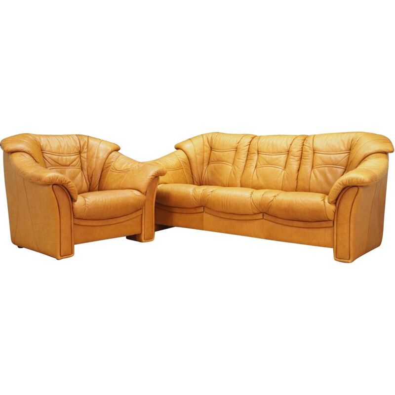 Vintage living room set in cognac color by Skalma, Denmark, 1980s