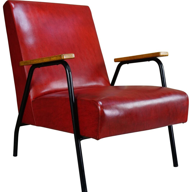 Vintage red Rio armchair by Pierre Guariche for Meurop 1950