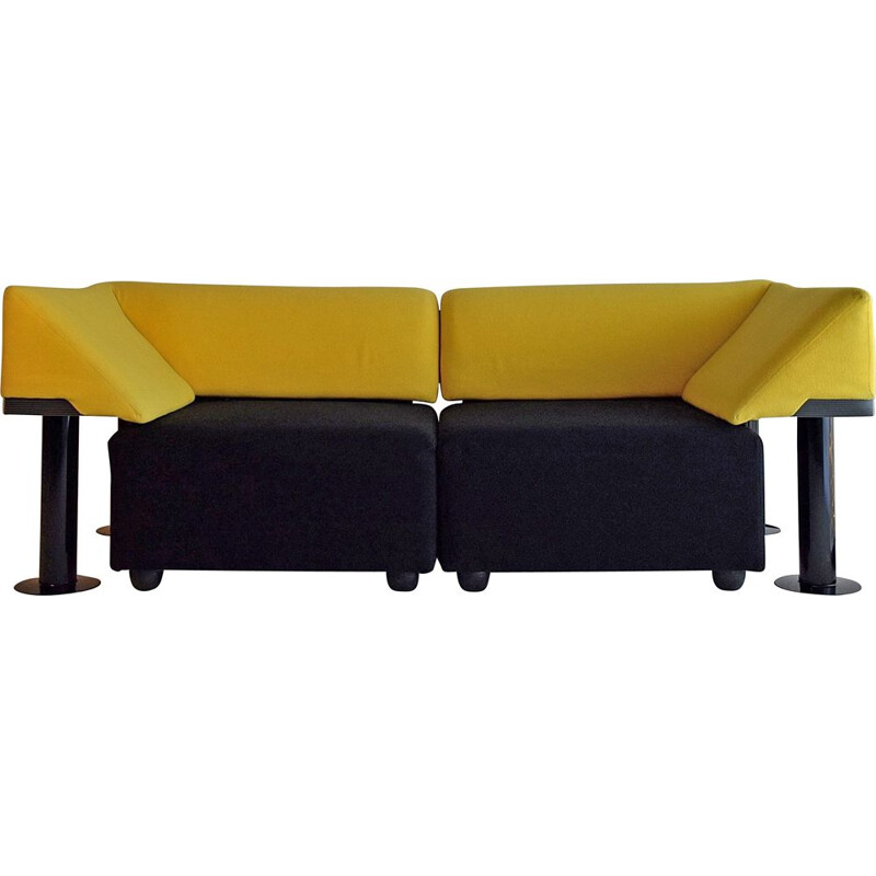 Vintage black and yellow Artifort sofa