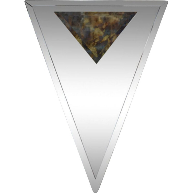 Vintage Art Deco bevelled and triangular mirror