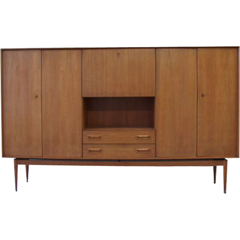 Vintage high teak sideboard designed by Arne Wahl Iversen, 1960