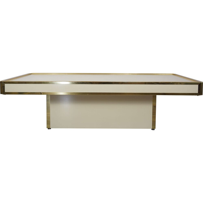 Vintage ivory and brass coffee table, Italian design, 1960-1970