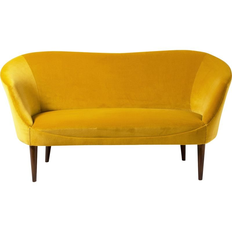 Vintage yellow Swedish cotton velvet sofa, 1950s