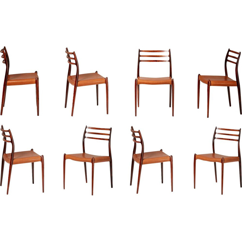 Set of 8 vintage model 78 rosewood dinning chairs by Niels Moller, 1962