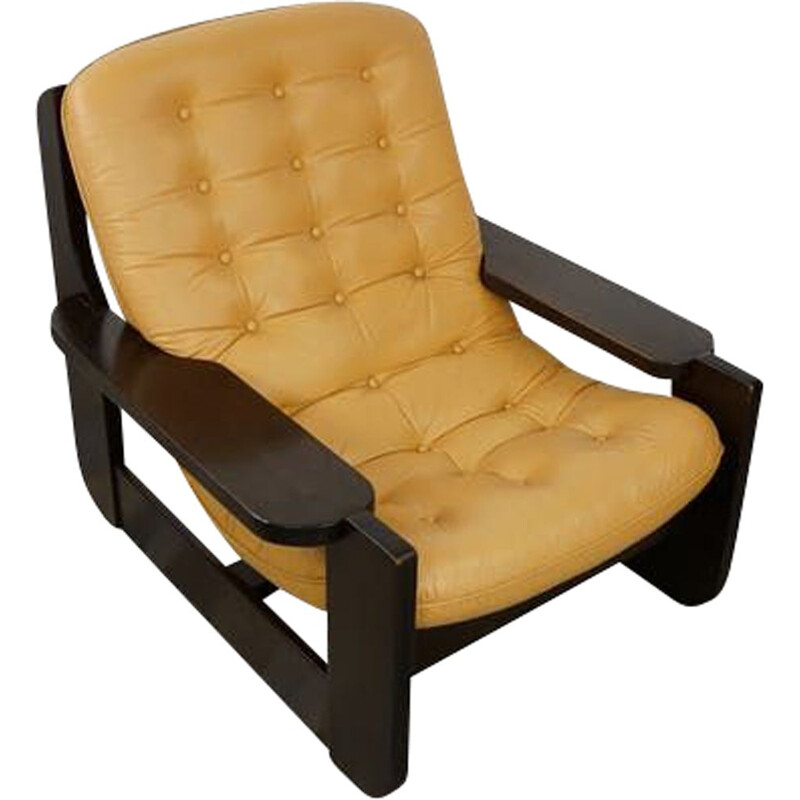 Vintage wooden and leather armchair with havana leather