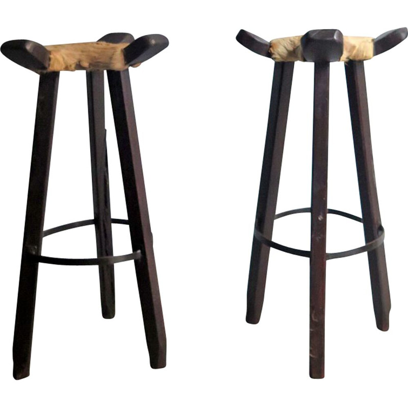 Set of 2 vintage high stools in cow leather and wood 1930
