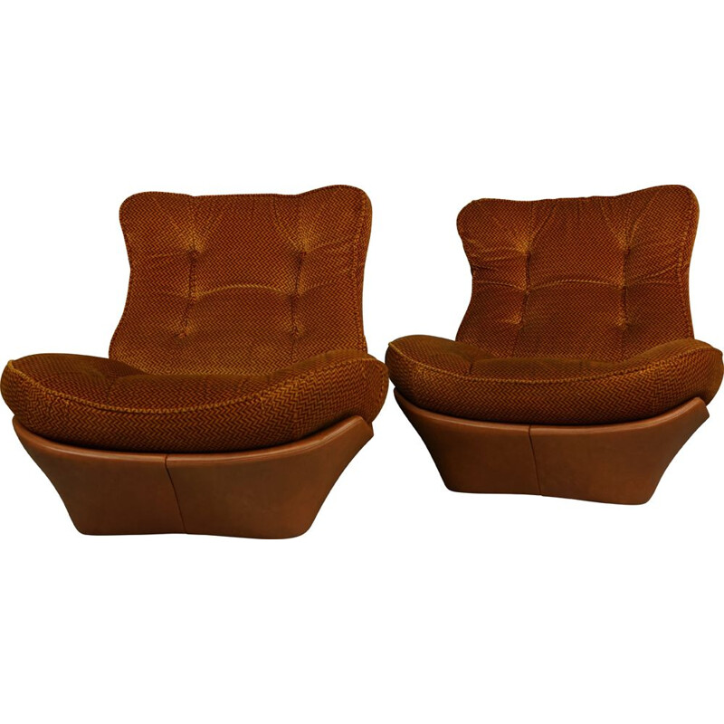 Pair of cognac imitation leather and velvet armchairs model Orsay