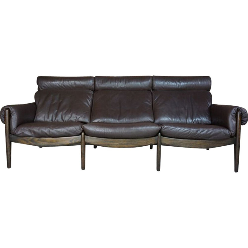 Vintage sofa in wood and leather Durlet