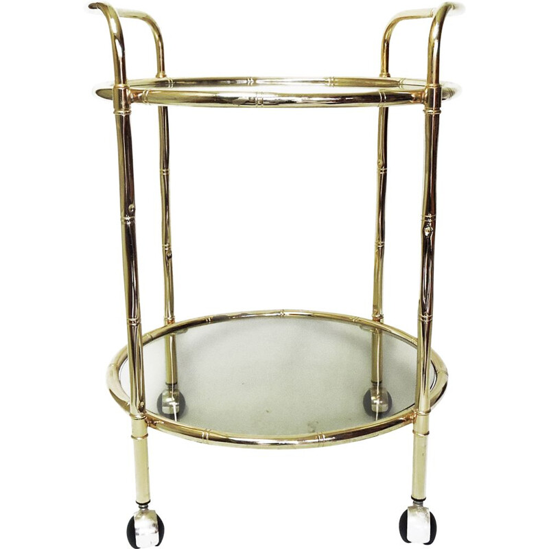 Vintage Bamboo Brass Drinks Trolley, 1970