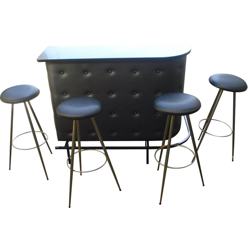 Vintage Jacques Adnet bar with its 4 stools 1950
