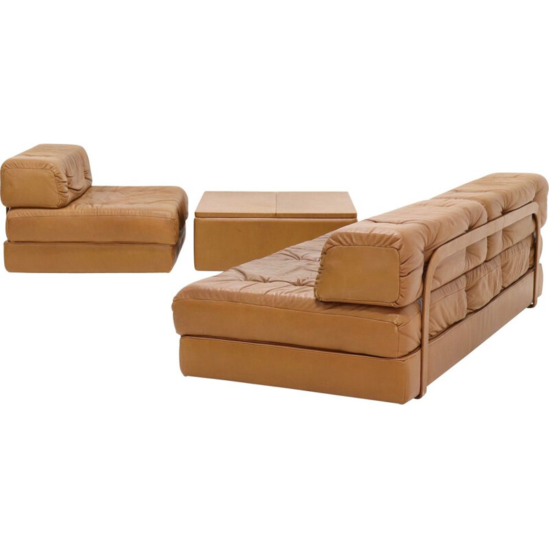 Vintage Wittmann Atrium Modular Seating Group Daybed in Cognac Leather 1970