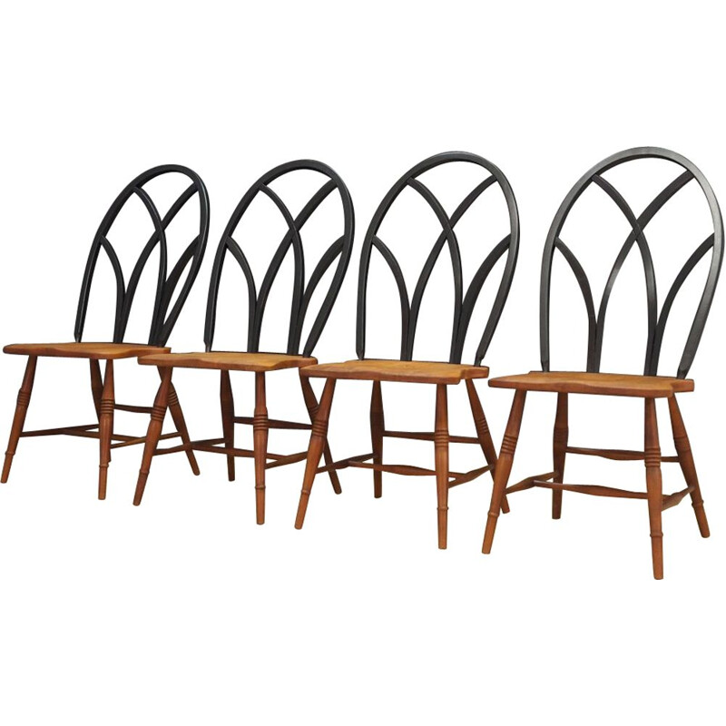 Set of 4 vintage Scandinavian chairs in beechwood 1950s