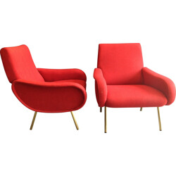Set of 2 Baby red lounge chairs, Marco ZANUSO - 1950s