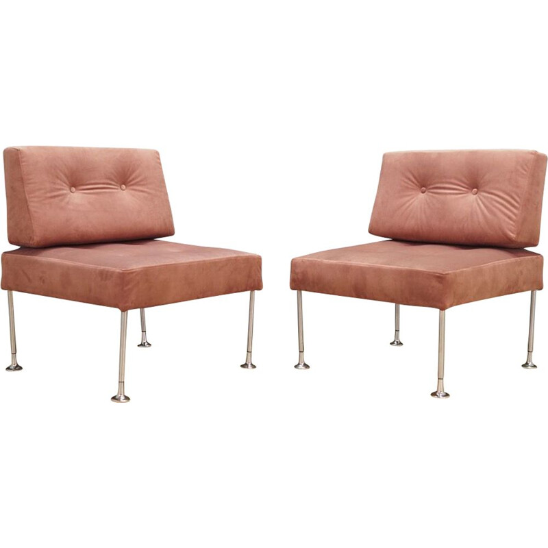 Pair of Vintage Revolt armchair for France & Son in pink fabric and steel 1970