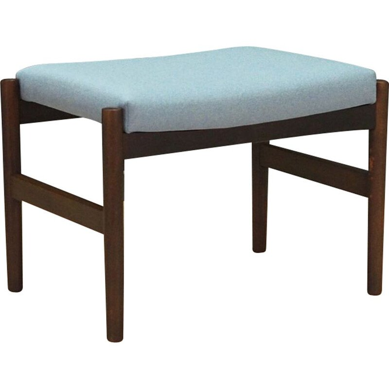 Vintage foot stool in oak and light blue fabric 1960