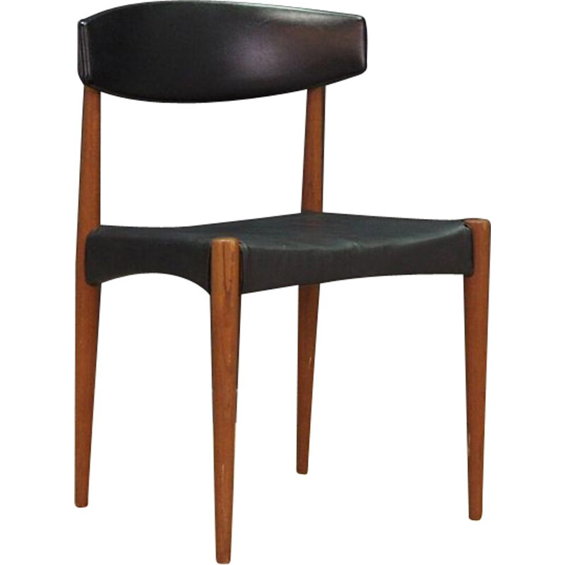 Vintage chair in black leather 1960