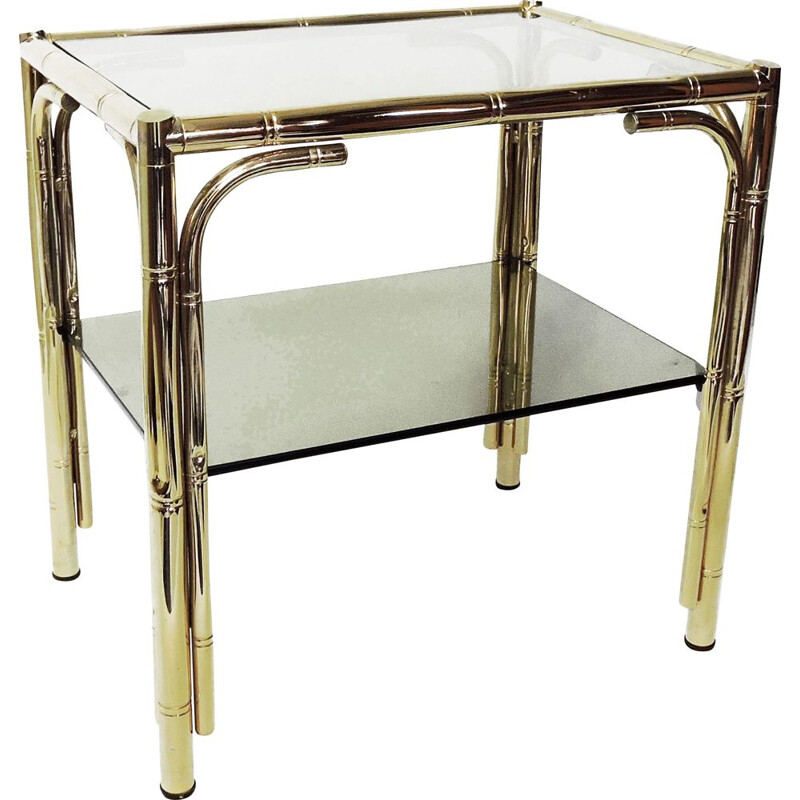Vintage Faux Bamboo Brass Coffee table, 1970s