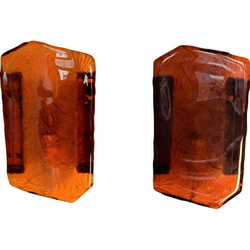 Set of 2 amber colored pressed glass wall lights by Vitrika, Denmark, 1960s