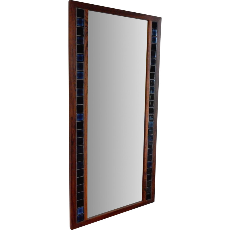 Rosewood vintage mirror with blue tiles, Denmark
