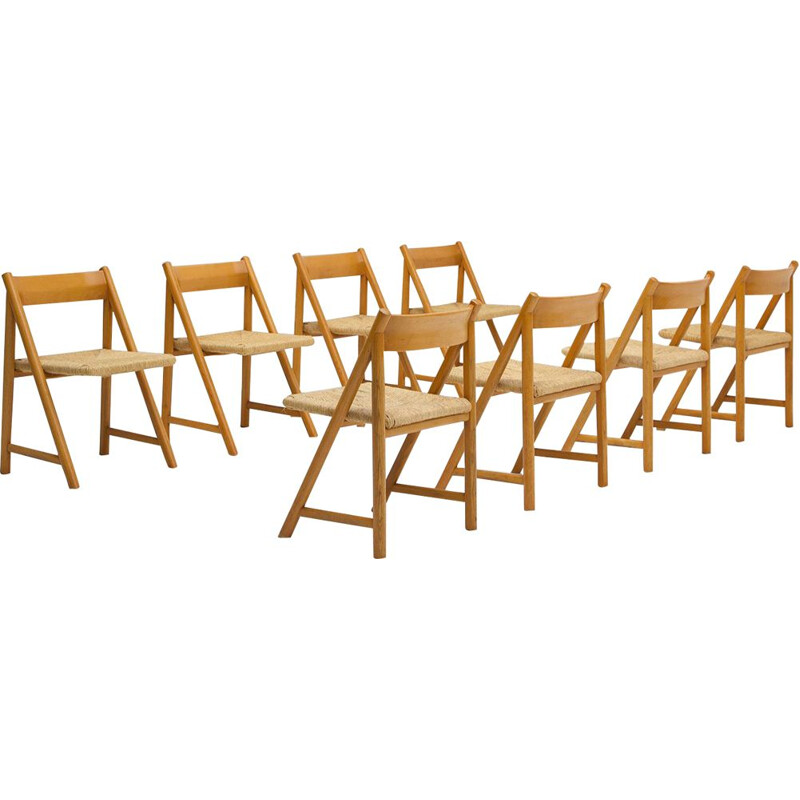Set of 8 vintage dining chairs in beech wood