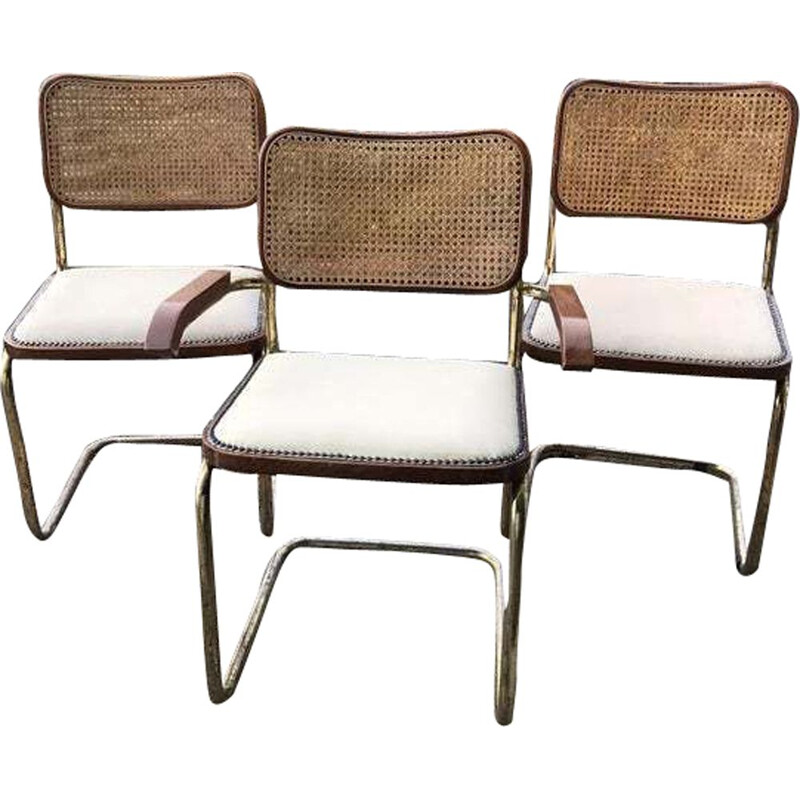 Set of 3 vintage Cesca chairs by Marcel Breuer, Italy, 1970