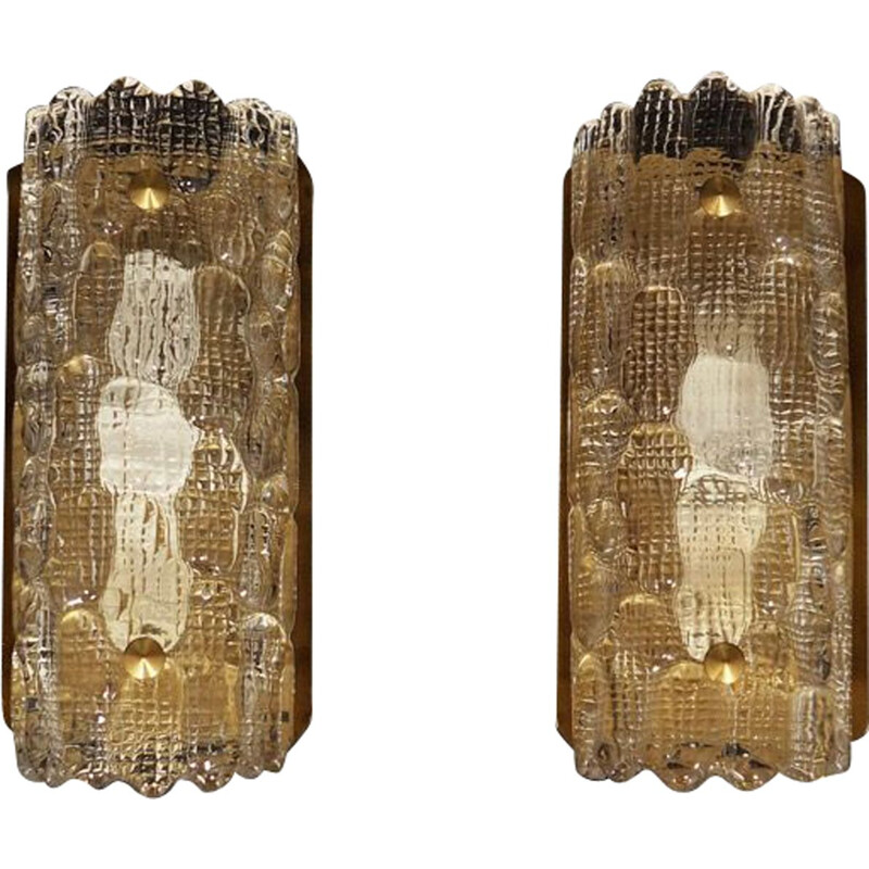 Pair of vintage danish sconces in glass and metal 1970