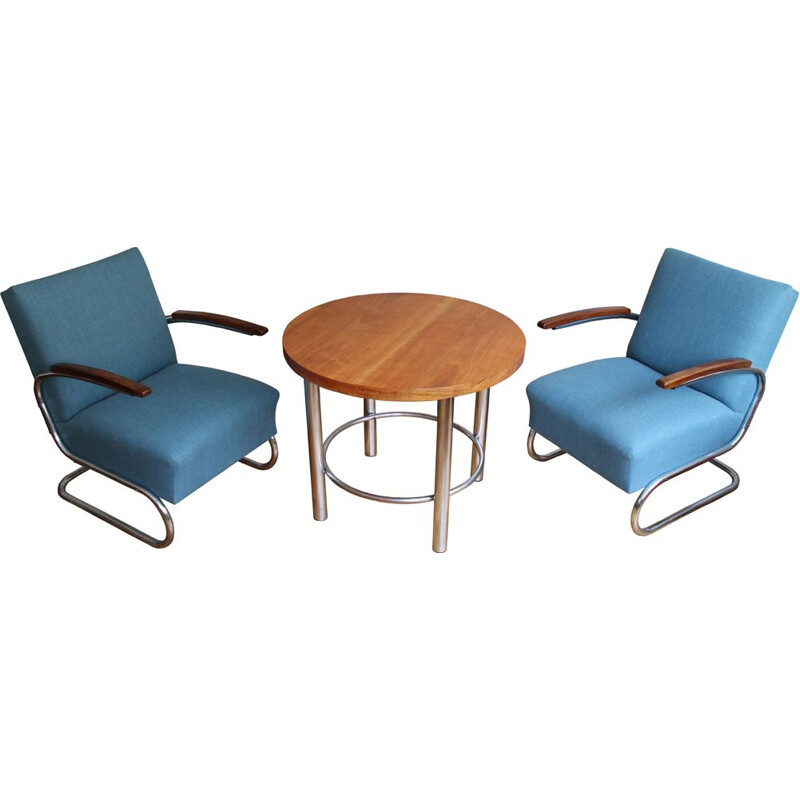 Vintage Lounge Chairs with Coffee Table Set by Walter Schneider and Paul Hahn 1930