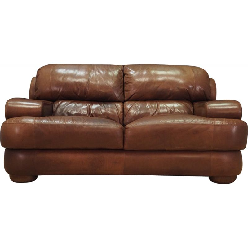 Vintage brown leather sofa 1960