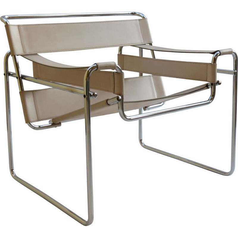 Vintage B3 Wassily chair in cream leather By Marcel Breuer For Gavina, Italy, 1960s