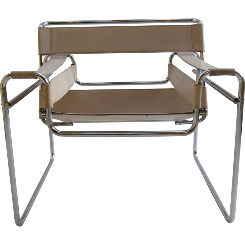 Vintage B3 Wassily chair in cream leather by Marcel Breuer For Gavina, Italy, 1960